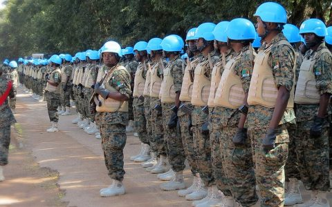 UN soldiers trying out new peacekeeing uniforms.